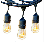 Twinkle Star Outdoor Waterproof 48 ft s14 Edison String Lights Patio Lights for Porch Yard Garden