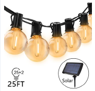LED Solar G40 Outdoor String Lights for Patio Cafe Bistro Garden