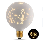 High Quality G125 E26 G125 Maple Leaf Globe Golden Glass cover Decorative Light bulbs