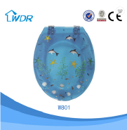 Slowly down WC sanitary polyresin custom blue toilet seats
