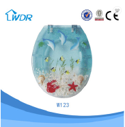 Quality soft close wc polyresin transparent blue color toilet seat cover