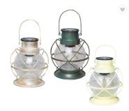 Outdoor White Decorative Metal and Glass Hanging Solar Garden Lantern