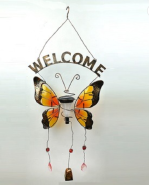 Solar Butterfly welcome sign dragonfly wall decorative light