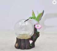 Hummingbird Decoration with Glass Ball Garden Solar Metal Hanging Lights