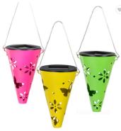 Solar Garden Meta Lantern Hanging Led Outdoor Lights