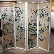 Foldable room divider made of handpainted enamel art glass.