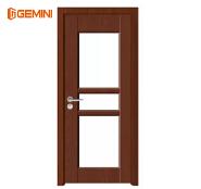 Simple WPC wood door waterproof pvc bathroom door with glass