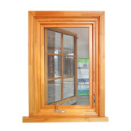 Safety Grill Design Solid Wood Clad Window With Hand Crank
