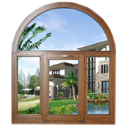 Energy Saving Larch Arched Design Solid Wood Casement Window Replacement