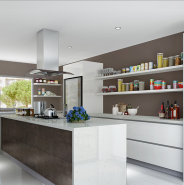 Oppein Acrylic and Unique Spain Sintered Rock Modern White Kitchen Cabinet