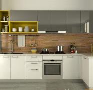 White Acrylic Cupboard L Shape Wood Small Kitchen Cabinet