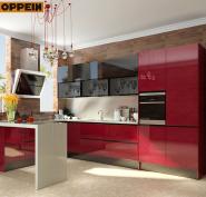 Dubai Exhibition Red Acrylic Wooden Kitchen Cabinet