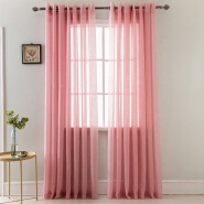 Cheap Wholesale Transparent White Pink Black Voile Curtain Half Dolly Grommet Sheer Curtain for Window