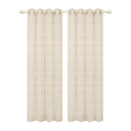 Polyester Ring Top Wholesale Beige Linen Sheer Curtain Material