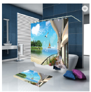 New Design Soft Romantic 3D Polyester Sea Bamboo Scenery Digital Shower Curtain