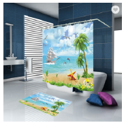 High Quality Luxury Printed Polyester Waterproof Bathroom Shower Liner Curtain With 12 Hooks