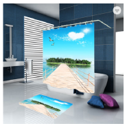 Latest 3D Custom Printed 100% Polyester Shower Curtain
