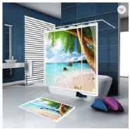 Polyester Curtain Decoration Scenery 3D Digital Print Blackout Shower Curtain
