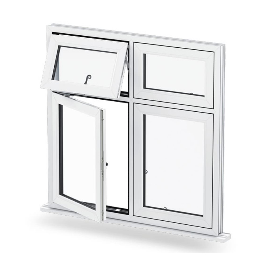 casement pvc profile frame windows china foshan