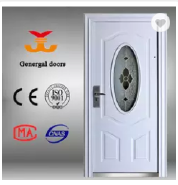 Front exterior entrance security modern steel door oval glass