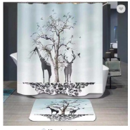 Decorative waterproof latest design polyester bath shower curtain