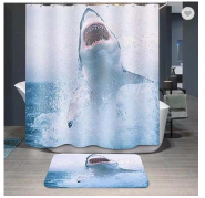 Shark flame retardant hookless shower curtain with matching window curtain