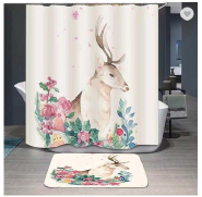 Latest design customized polyester clear shower curtain with pockets