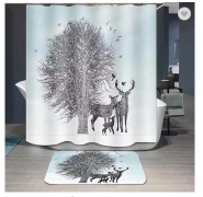 Fantasy fashion design polyester waterproof printing bathroom shower curtain