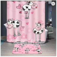 Cute cartoon animal printing clear shower curtain with magnet