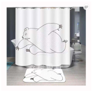 Digital printing cute bear pattern outhouse waterproof shower curtain