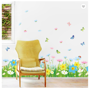 Colorful Flowers Decorative Wall Paper 3D Wall Stickers PVC Wall Paste For Bedroom