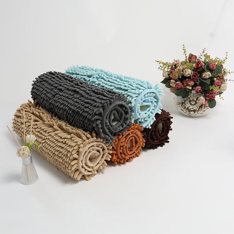 (CHAKME) Comfortable Super Soft Cotton Chenille Bath Non Slip Mat For Shower