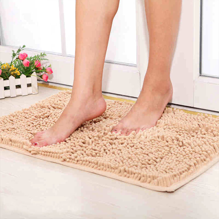 (CHAKME) Washable Absorbent Chenille Waterproof Anti-Slip Mat For Bath