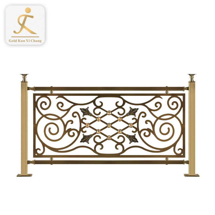 Dubai sunshine villa beach house stainless steel railings indoor balusters anodize decorative gold color stair handrail