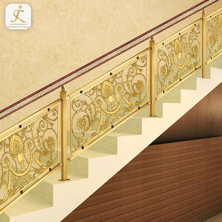 duplex village villa ramp decorative interior railings stainless steel gold staircase baluster modern carved inox stair railing