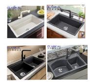 New design double drainboard kitchen black sink