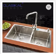 Above top mounted hand made 304 Stainless steel double bowl kitchen sink