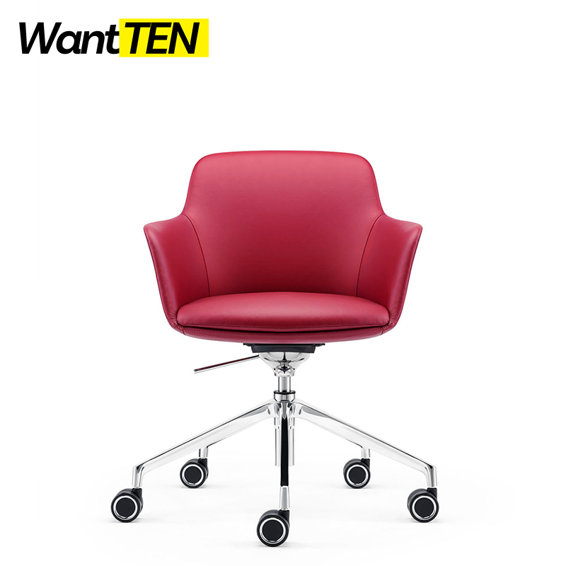 Italy Stylish Rose Color Leather Upholstered Office Chair For Elegant Female Employee Suit For Home Office B1816