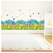 Blue Flowers Butterfly Waterproof PVC 3D Stickers Window Decoration Skirting Line