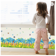 Blue Flowers Butterfly Waterproof Decorative 3D Stickers PVC Skirting Line