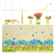 Blue Flowers Butterfly Decorative 3D Wall Stickers Waterproof PVC Skirting Line