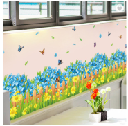 Blue Flowers Butterfly Waterproof Wallpaper Decorative 3D Stickers PVC Skirting Line