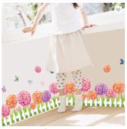 Dahlia Flowers PVC Waterproof Wall Stickers 3D Decorative Wallpaper For Hoom