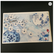 400*9mm Home Decor Eco-friendly WPC Paneling with Blue and White Porcelain Design