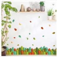 Colorful Leaves Waterproof Self-adhesive 3D Design Wall Sticker PVC Decorative Kick-line
