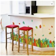 Colorful Leaves 50*70cm Self-adhesive Kick-line 3D Design PVC Waterproof Wall Sticker