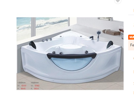 Double person acrylic corner triangle shaped modern bathtub