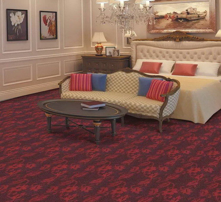 Commercial High Quality Thick Stain resistance Nylon Printed Wall to Wall Black Stream Pattern Hotel Room Carpet