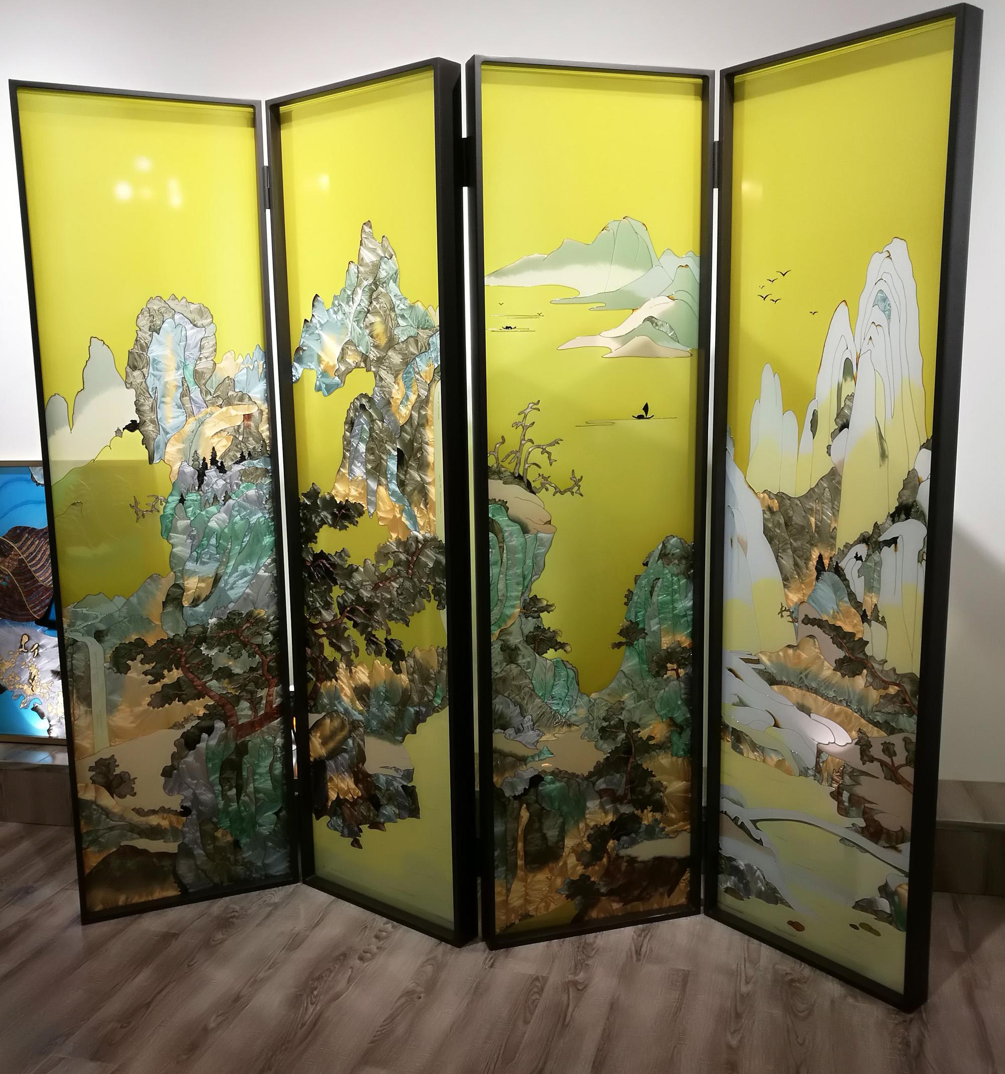 Cloisonne Enamel Handpaint Art Glass Room Divider