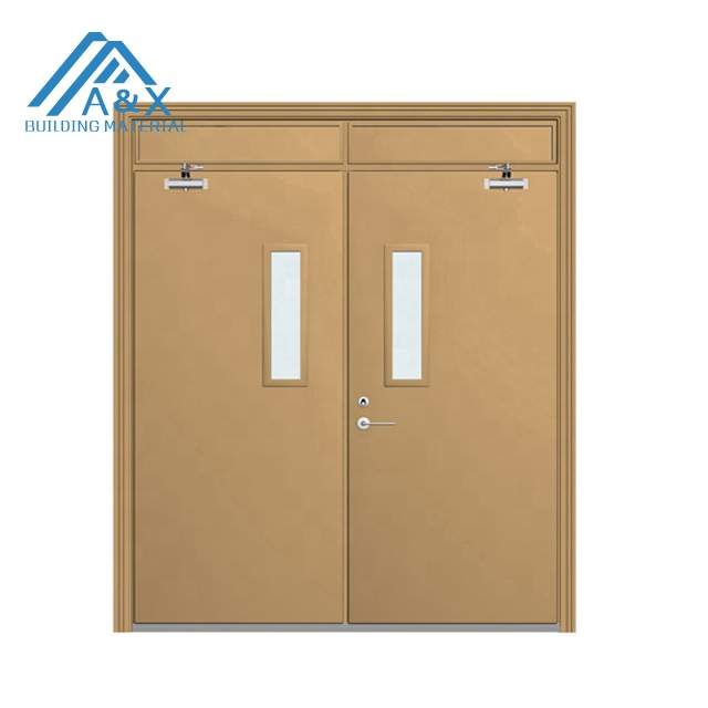 Steel fireproof / fire rated door with glass